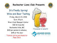 Registration for 2018 Wine and Beer Tasting Event