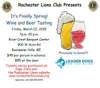 Registration for 2019 Wine and Beer Tasting Event